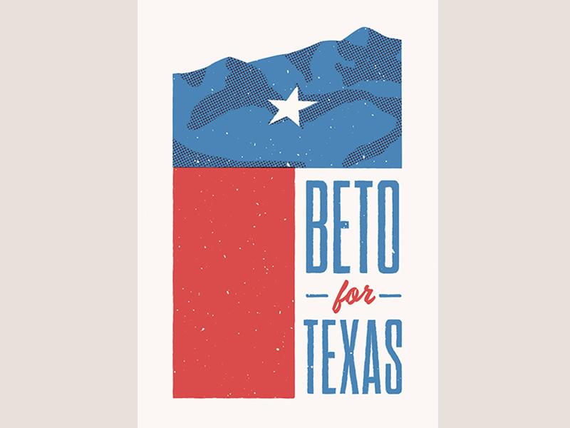Beto for Texas design type poster senate vote el paso franklin mountains flag texas beto