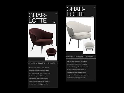 Furniture Mobile Product View - Charlotte website furniture store minimal dark furniture design furniture adobe xd web minimalist ux ui digital design