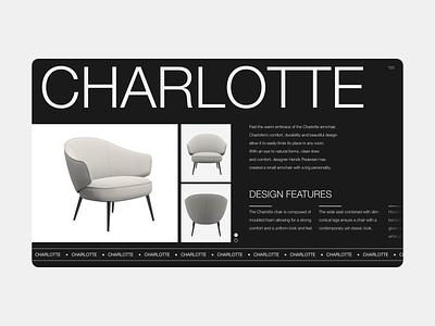 Furniture Product Page - Desktop helvetica charlotte desktop product furniture dark typography adobe xd minimalist web ux ui design digital