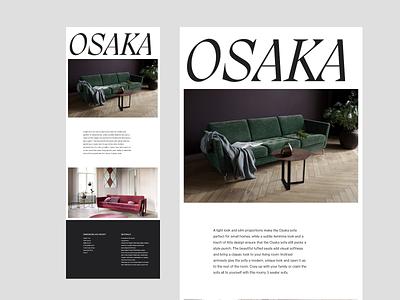 Osaka - Sofa - Layout Exploration adobe xd layout layout design product osaka furniture white space typography web minimalist digital design editoral