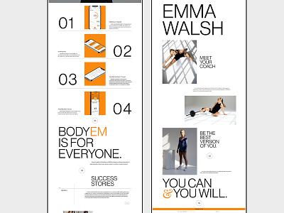 BodyEM - Web Design typography whitespace layout bodyem personal trainer fitness coach coaching fitness lenus ui adobe xd web minimalist digital design