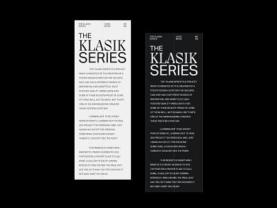 Klasik Gallery - About page/Mobile version posters klsk pangram pangram modern white space exploration web gallery gallery klasik typography adobe xd web minimalist digital design