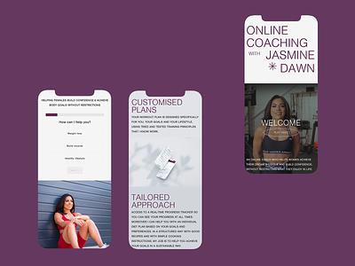 Jasmine Dawn - Web Design coaching fitness bold modern swiss whitespace ui typography adobe xd web minimalist digital design
