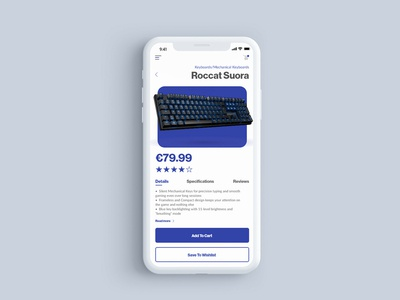 E-Commerce concept - Single Product view mobile adobe xd product page shop webshop keyboard product ecommerce app ecommerce web ux ui digital design