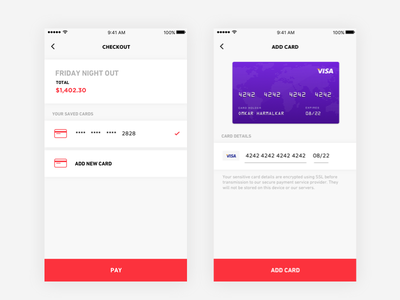 App – Checkout add card card payment pay stubba checkout buy