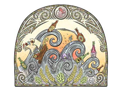 Great flood illustration design brewing illustration decorative tapestry decorative illustration decorative decoration artwork artist art