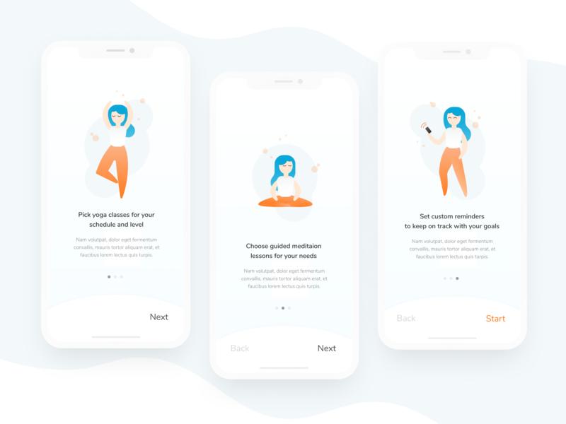 Daily UI 023: Onboarding (Mindfulness App) yoga meditation mobile app onboarding orange illustration daily ui dailyui daily ui 023 figma minimal
