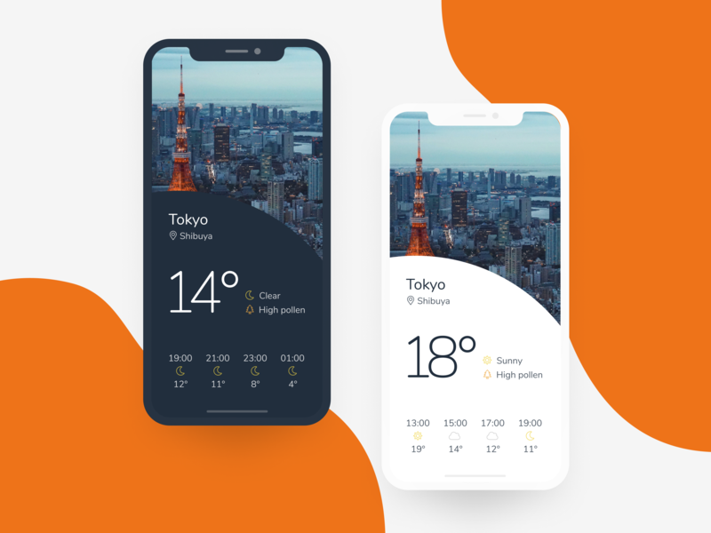 Daily UI 037: Weather ui mobile orange figma dark mode weather mobile app 037 daily ui 037 dailyui daily ui weather app