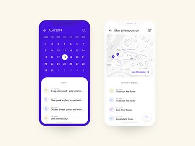 Daily UI 038: Calendar daily ui health fitness to do app calendar 038 daily ui 038 purple ui mobile app figma dailyui