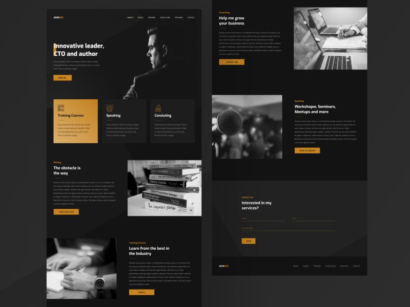 Personal Portfolio Landing concept dark mode minimal gold black landing portfolio web design ui figma