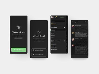Professional Networking App Concept pirates concept design minimal mobile app mobile dark mode figma