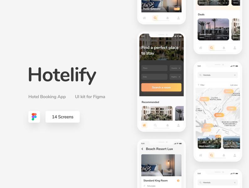 Hotelify - Free iOS mobile kit for Figma orange minimal mobile mobile app ui ui kits freebie figma ui kit hotel booking hotel app hotels