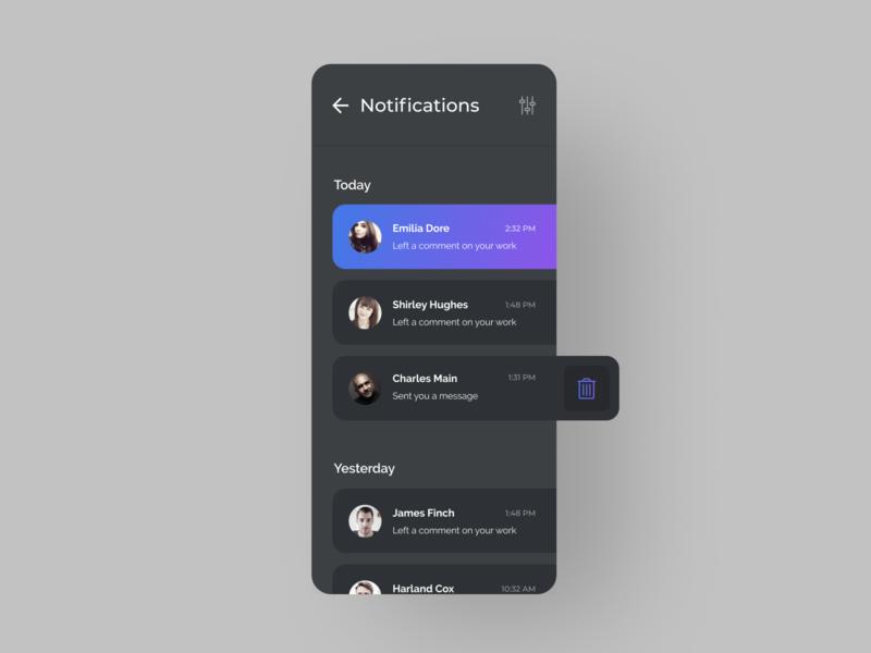 Daily UI 049: Notifications daily ui 49 049 purple dark mode minimal mobile mobile app ui daily ui dailyui figma