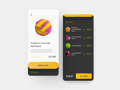 Daily UI 058: Shopping Cart figma mobile app mobile ui yellow shopping cart shopping app dark mode 058 daily ui 058 ui daily ui dailyui