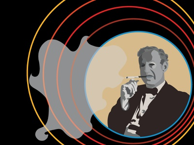 Ian Fleming vector illustration bond portrait face man