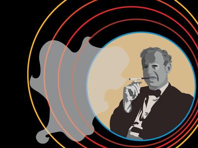Ian Fleming vector illustration bond portrait face man
