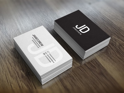 James Drew identity business cards print design logo type mockup
