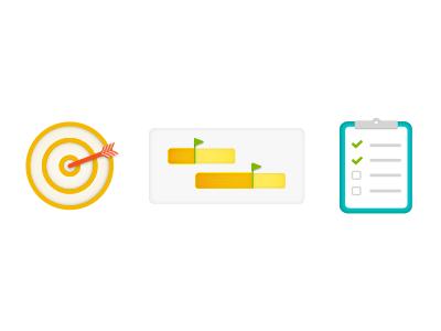Task Icons vector illustration target timeline clipboard business