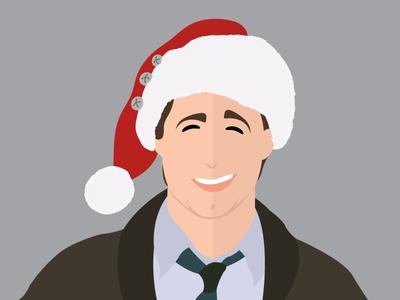 Clark Griswold face holiday santa griswold christmas vector portrait illustration