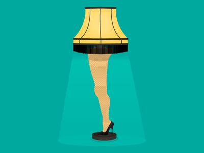 """Fragilé!"" holiday fragile christmas vector lamp leg illustration"