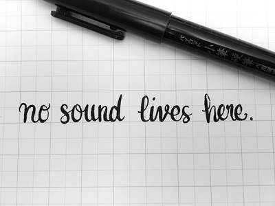 no sound lives here. calligraphy script typography type pen ink lettering