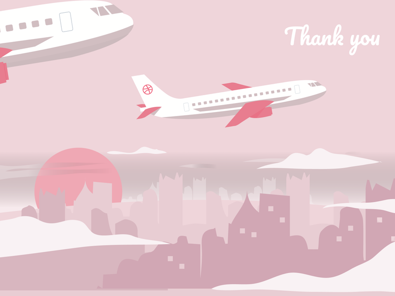 Thank you for the invitation drafted illustration travel sun clouds sky invitation city buildings plane dribbble thank you