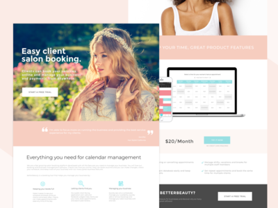 Salon booking landing page