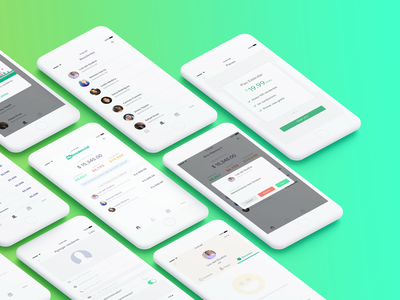 MiResidencial app mockup clean contacts plan modal profile manager finances green android ios building