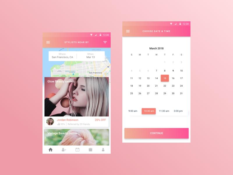 Salon Booking App ui ux salon pink map makeup location hair gradient calendar booking app android