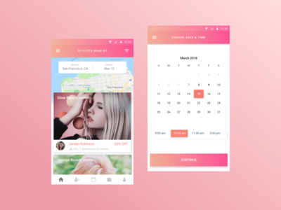 Salon Booking App ui ux salon pink map makeup location hair gradient calendar booking app android
