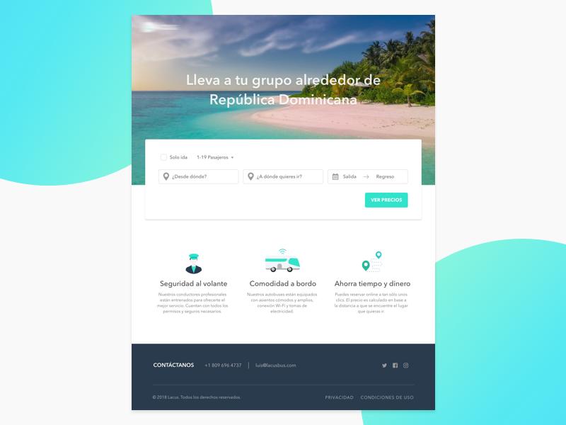Bus service landing page landing page ui ux business app website web form cta beach features bus