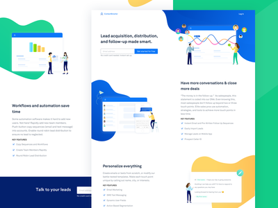 Contactsmarter Landing Page campaign email clean gradient lead branding ux ui ux marketing homepage illustration landing page features ui web website app
