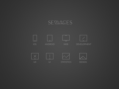 Minimal Services Icons - PSD
