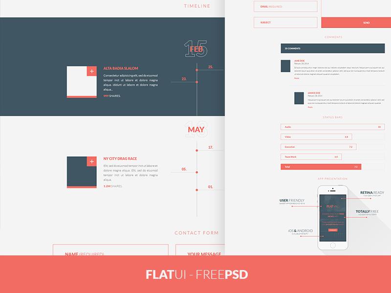 FREEBIE PSD: Flat UI Kit free freebie ui gui element psd download flat web minimal timeline bootstrap