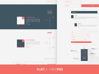 FREEBIE PSD: Flat UI Kit free freebie ui gui element psd download flat web minimal timeline bootstrap