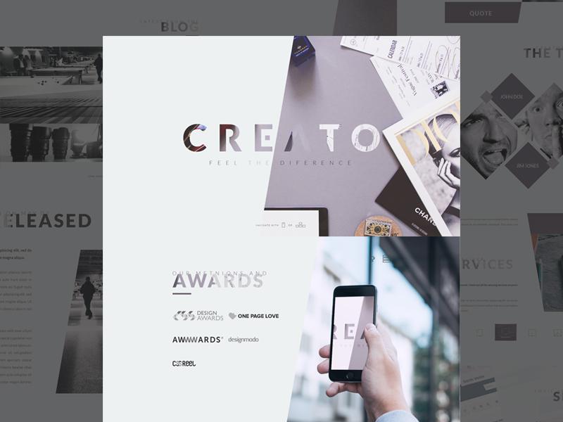 Creato - WP Theme (FREE PSD) download psd free typography landing page onepage wordpress modern unique
