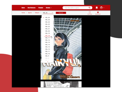 Manga Reading Page - Dropdown Chapter Menu