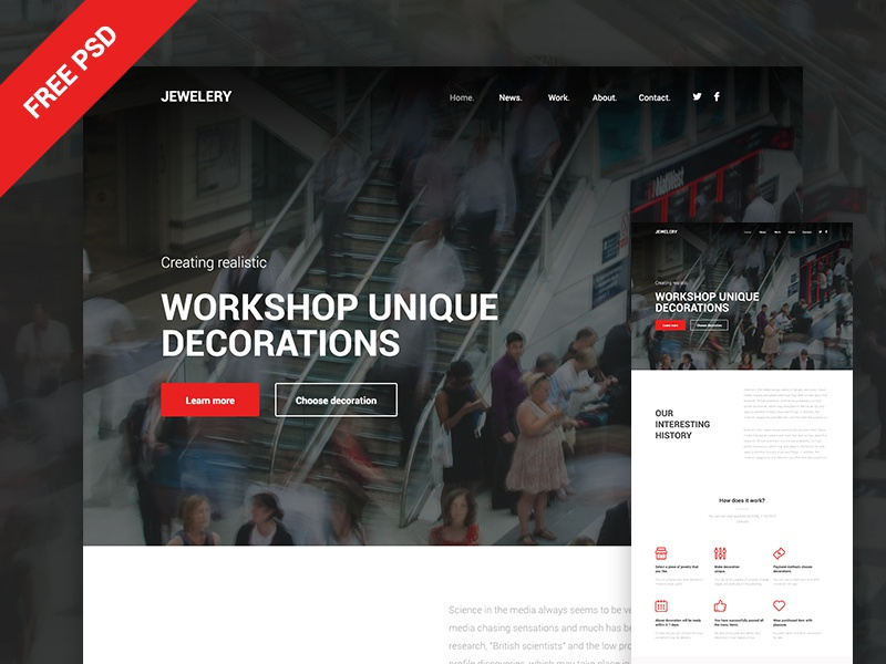 Jewelery flat corporate portfolio free psd business ux layout ui webdesign web