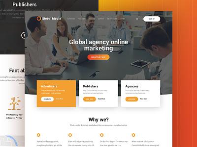 Global Media | Free PSD web webdesign ui layout ux business psd free marketing corporate flat