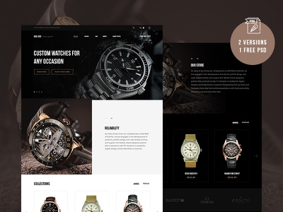 Watch | Free PSD web webdesign ui layout ux business black white landing page psd free flat