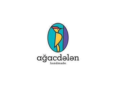 Ağacdələn handmade woodpecker illustration branding vector typography logoidea logo brand dribbble company design