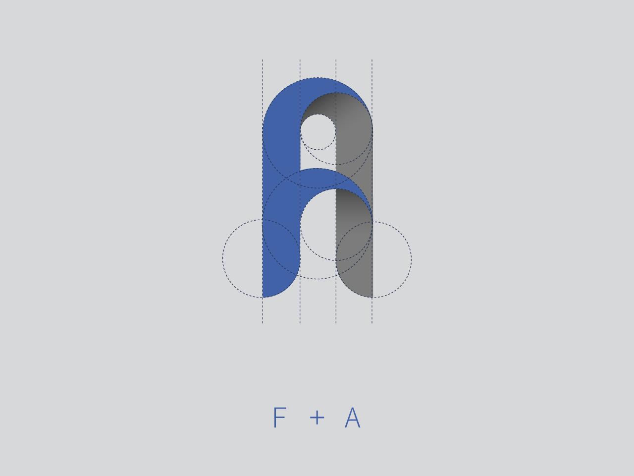 F+A typography design logo