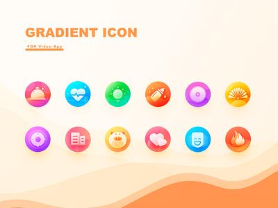 Gradient Icon health hot shot pig building music icon light food love ui gradient illustration