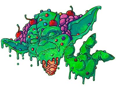 Mint Yoda Ice Cream acrilyc art ice funart yoda