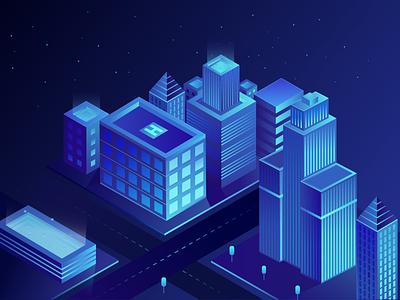 Isometric city city blue illustration building isometric