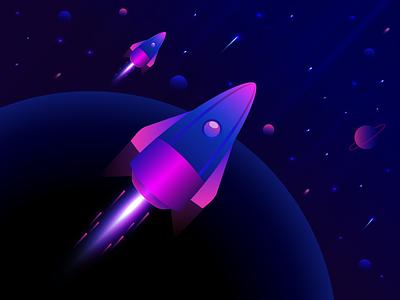 Rocket noms edit gradient space illustration rocket planet rocket launch