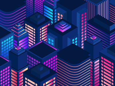 City At Night noms edit graphic vector illustration night city city isometric