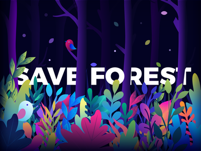Save the Forest animal forest gradient vector illustration