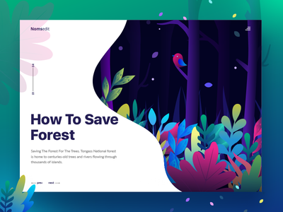 Save the Forest ( Concept ) froest gradient ui vector illustration