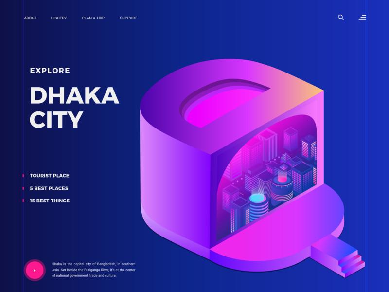 Dhaka City (D concept) landing web ui 2.5d 3d isometric illustration